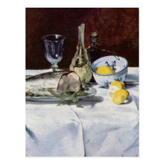 Still life with salmon - Edouard Manet Postcard