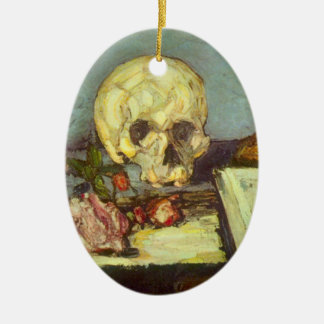 Still Life with Skull, Candle, Book By Cezanne Ceramic Oval Ornament