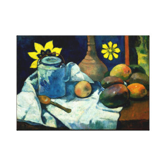 Still Life with Teapot and Fruit. Canvas Print