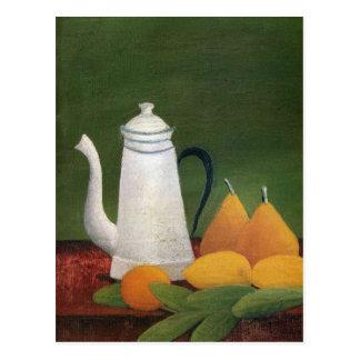 Still Life with Teapot & Fruit by Henri Rousseau Postcard