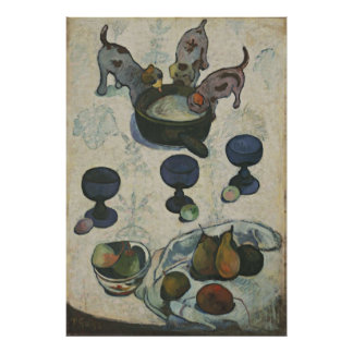 Still Life With Three Puppies by Paul Gauguin Poster