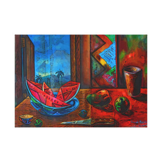 Still Life with watermelon. Canvas Print