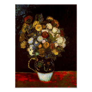 Still Life with Zinnias Van Gogh Fine Art Poster