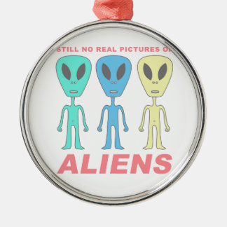 Still No Real Pictures of Aliens Silver-Colored Round Ornament