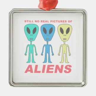 Still No Real Pictures of Aliens Silver-Colored Square Ornament