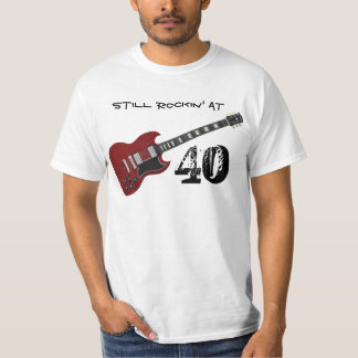 Still Rockin' at 40, red & black guitar T-Shirt