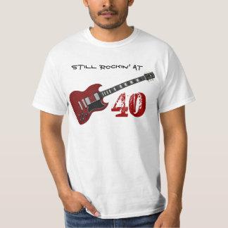 Still Rockin' at 40, red & black guitar T Shirt