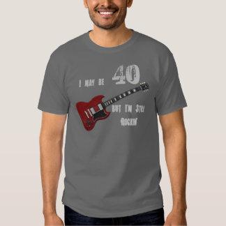 Still Rockin' at 40, red & black guitar T Shirts