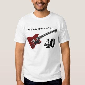 Still Rockin' at 40, red & black guitar Tshirts