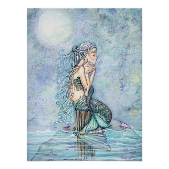 Still Waters Mermaid Mother and Baby Poster