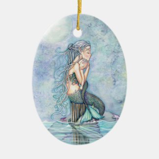 Still Waters Mermaid Mother and Infant Baby Shower Ceramic Ornament