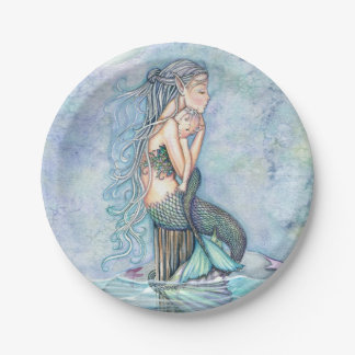 Still Waters Mother and Baby Mermaids Baby Shower 7 Inch Paper Plate