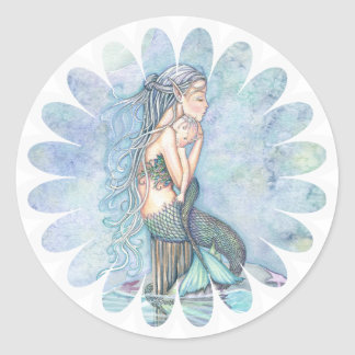Still Waters Mother and Infant Mermaid Baby Shower Round Sticker