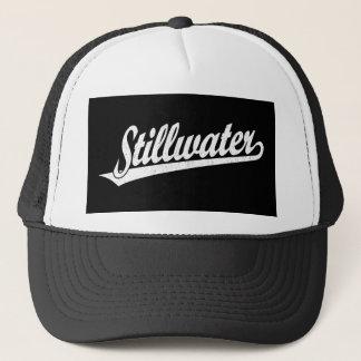Stillwater script logo in white distressed trucker hat