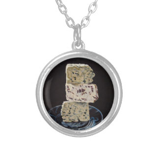 Stilton Cheese Stack Silver Plated Necklace