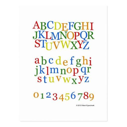 Stimulant coloré de l'alphabet des enfants + Minus Cartes Postales