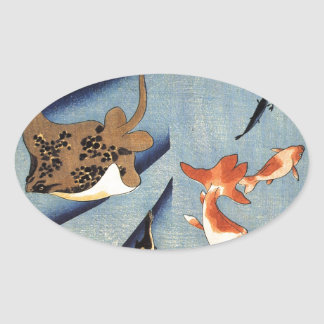 Stingrays by Utagawa Kuniyoshi Oval Sticker