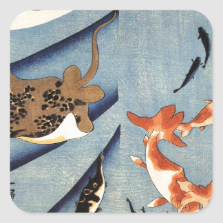 Stingrays by Utagawa Kuniyoshi Square Sticker