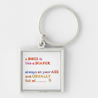 Stinky Boss -  Management Humor Silver-Colored Square Keychain