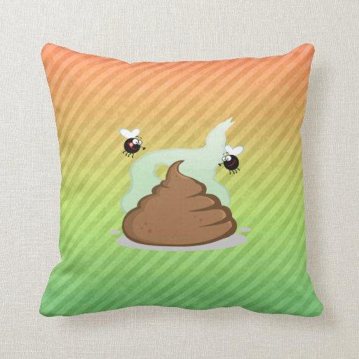 Stinky Poo design Throw Pillows