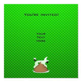 "Stinky Poo; Green 5.25"" Square Invitation Card"