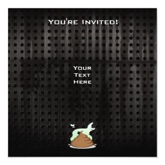 "Stinky Poo; Grunge 5.25"" Square Invitation Card"