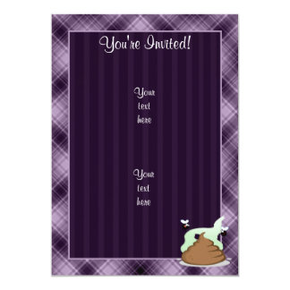 "Stinky Poo; Purple 5"" X 7"" Invitation Card"