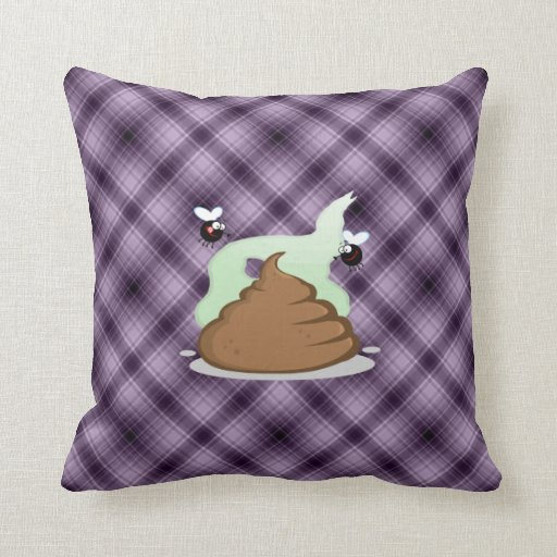 Stinky Poo; Purple Throw Pillow