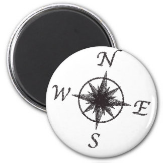 Stipple Compass Face 2 Inch Round Magnet