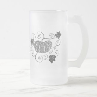 Stippled Pumpkin Frosted Glass Beer Mug