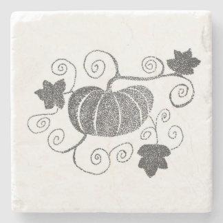 Stippled Pumpkin Stone Coaster