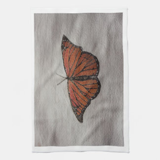 Stippling Drawing Monarch Butterfly Dish Towel