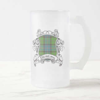 Stirling Tartan Shield Frosted Glass Beer Mug