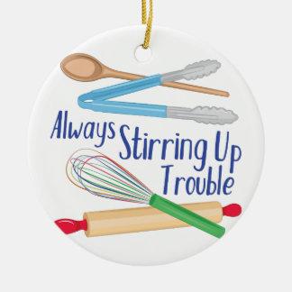 Stirring Up Trouble Round Ceramic Ornament