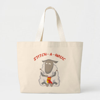 Stitch-a-holic Knitter Large Tote Bag