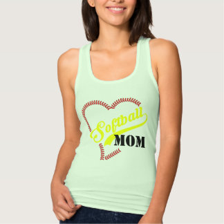 Stitch Heart Softball Mom Personalized Mint Tank