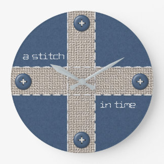 Stitch in Time on Burlap, Blue Denim, and Buttons Wall Clock