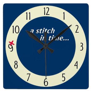 Stitch in time saves 9 clock - blue