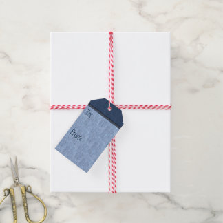 Stitched and Riveted Blue Denim (To-From) Pack Of Gift Tags