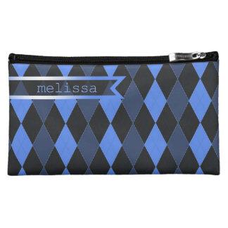 Stitched Argyle Blue Cosmetics Bags