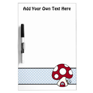 Stitched Design Red Mushroom House Fairy Home Dry Erase Board