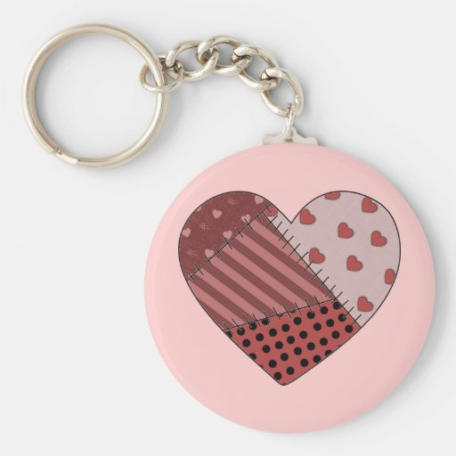 Stitched Together Patchwork Heart Keychains