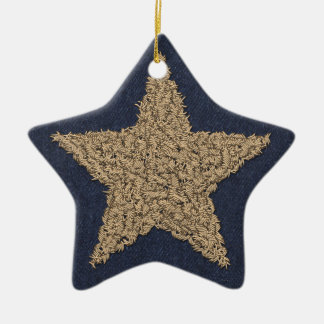 Stitchery Star Ceramic Ornament