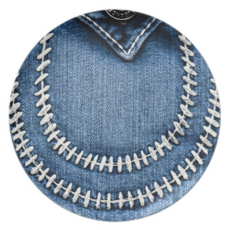 Stitches on Jeans Pocket Plate