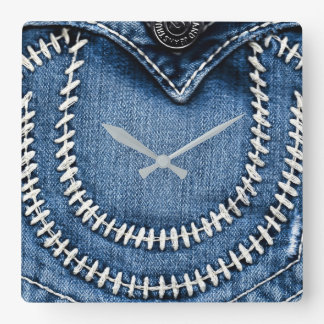 Stitches on Jeans Pocket Square Wall Clock