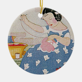 Stitching Girl Ceramic Ornament
