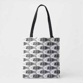 Stock market fish black and white tote bag