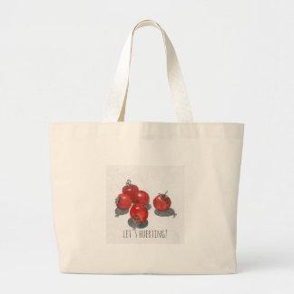 "stock market giant cotton ""let's huerting"" tomatos large tote bag"