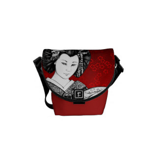 Stock market Messenger Red and Black Geisha Messenger Bag