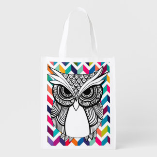 Stock market owl 1 face reusable grocery bag